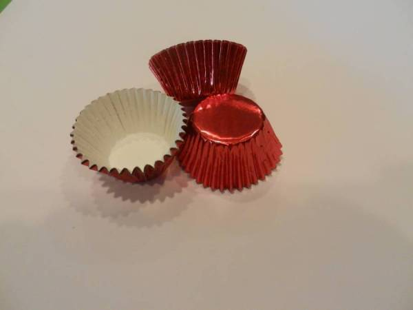 48 Mini Red Foil Cupcake Liners Baking Cups Truffle Candy