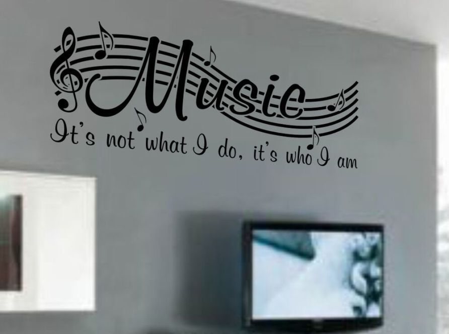 MUSIC IS NOT Vinyl Wall Quote Word Decal Dance Musical ...