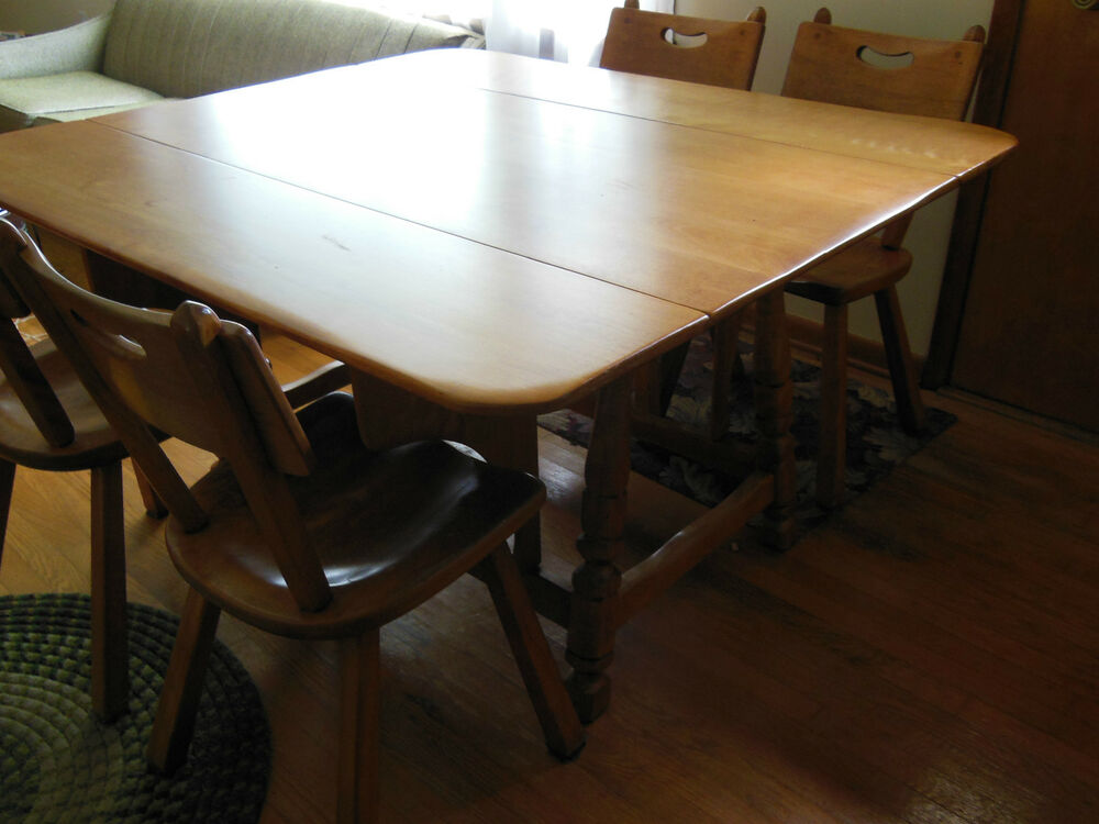 Cushman Colonial Furniture Drop Leaf Dining Room Table W 4 Chairs EBay