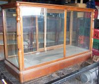 LARGE ANTIQUE WOOD FRAME DISPLAY CASE wooden cabinet