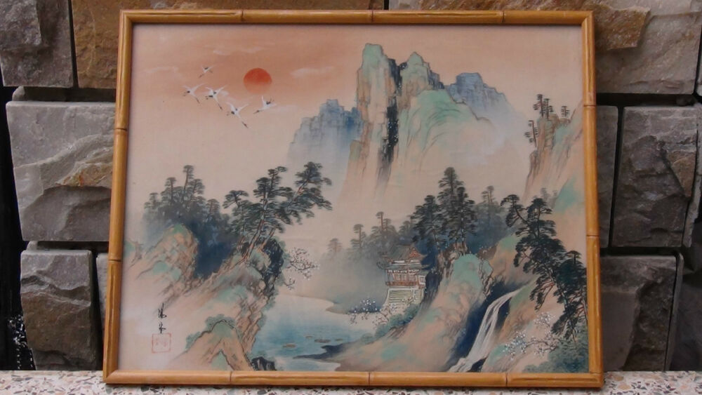 ANTIQUE 19C CHINESE WATERCOLOR ON FABRIC PAINTING