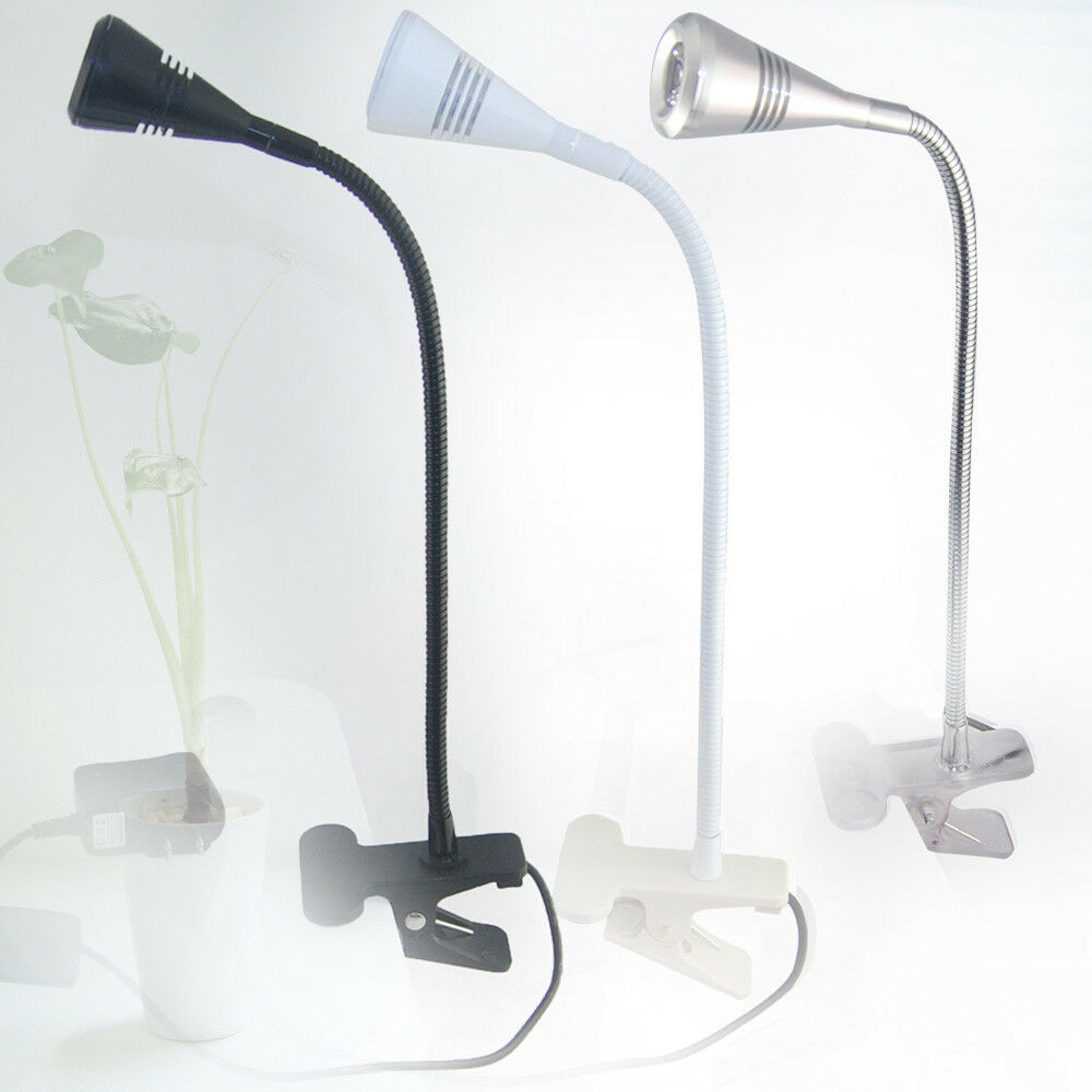 Silver Black White LED Desk Lamp Clip On Reading