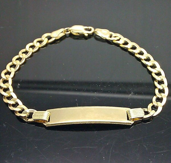 3.6gm 10k Yellow Gold 6mmx27mm Id Plate Kid' Bracelet Link Chain 133.99