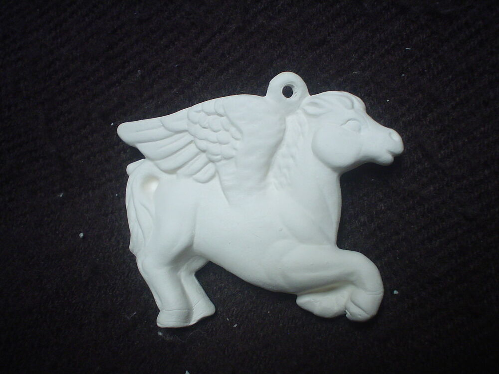 A277 Ceramic Bisque OrnamentFlying Pegasus Ready To