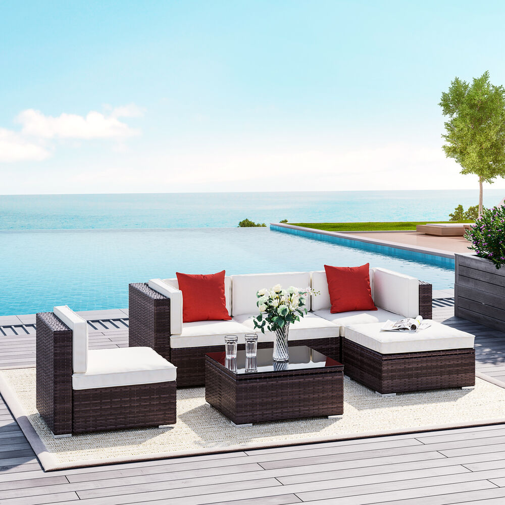 6pc milan modular rattan corner sofa set recliner leather sofas online garten couch garden sets bench and seat outsunny wicker patio sectional yard furniture ebay