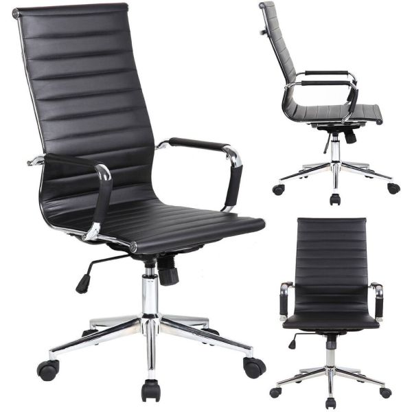 executive office chairs Modern High-Back Black Ribbed Upholstered PU Leather