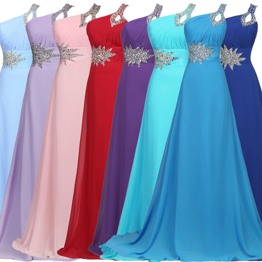 WomenS Long Chiffon Party Bridesmaid Evening Prom Ball Cocktail Dress Gown 620  eBay