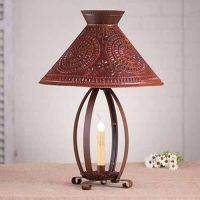 Betsy Ross Primitive Country Table Lamp in Rustic Tin w ...