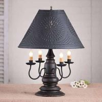 Harrison 4-arm Wooden Table Lamp w/ Tin Shade | Primitive ...