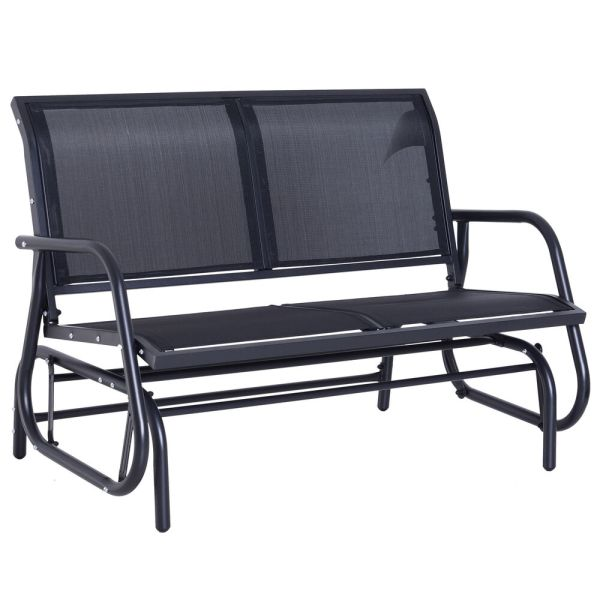 Outsunny Patio Garden Glider Bench 2-person Double Swing Chair Rocker Deck Black
