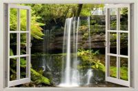 Waterfall 3D Window View Removable Decal Home Decor Mural ...