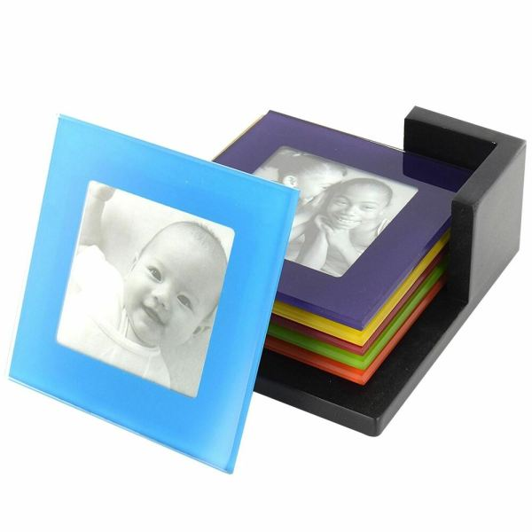 Set Of 6 Coloured Glass Coasters Frame Placemats Drinks Cup Mat