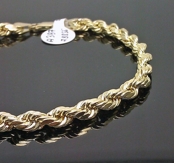 10k Men' Yellow Gold Rope Bracelet 5mm 7.5 Inches Long # A3b5