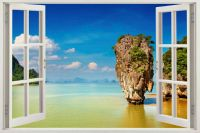 WINDOW 3D Beach Window View Removable Wall Art Stickers