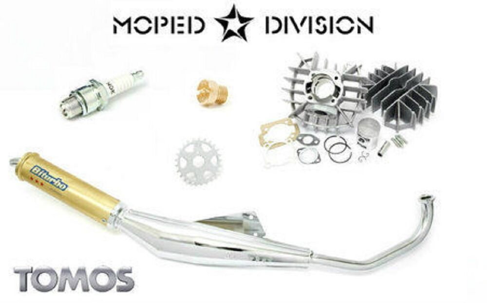 Tomos A55 70cc Airsal Cylinder & Biturbo Exhaust Package