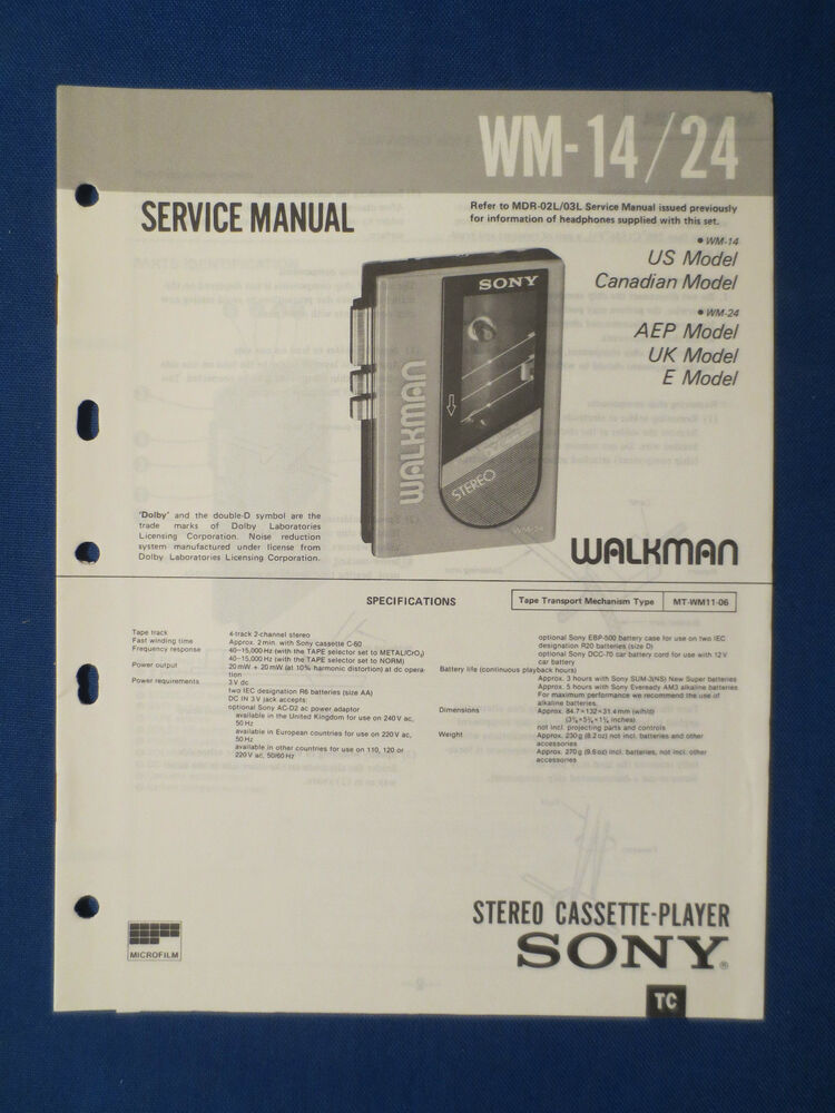 SONY WM-14 WM-24 CASSETTE WALKMAN SERVICE MANUAL ORIGINAL