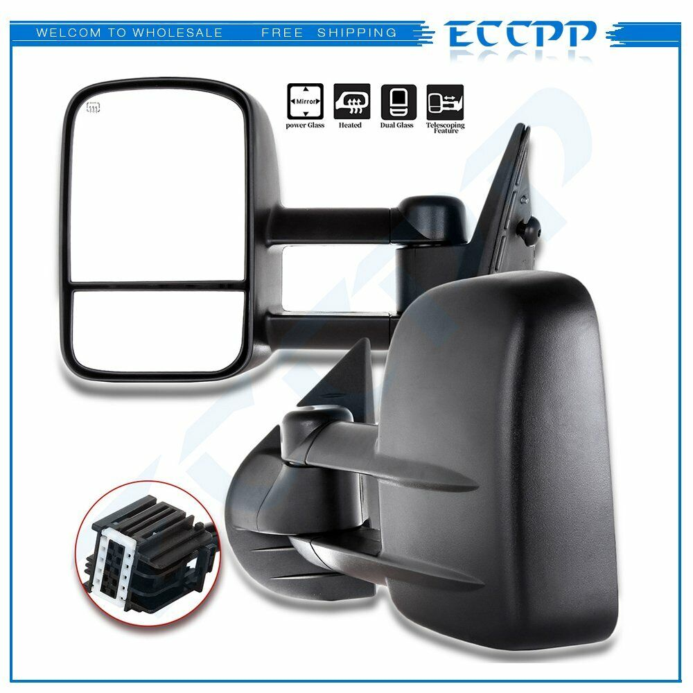 hight resolution of side view tow mirrors manual non heated black pair 2008 2009 2010 2011 2012 2013 eccpp towing mirror replacement fit 2007 2014 chevy silverado