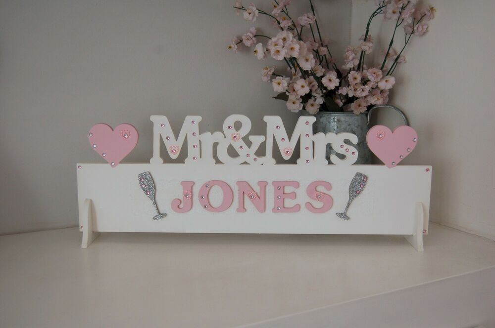 Mr & Mrs Wooden Sign MR AND MRS Top Table Gift Plaque All