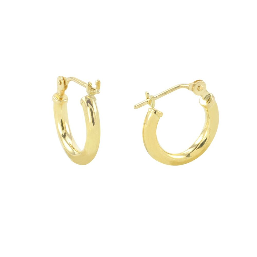 14k Yellow Gold Hoop Earrings 12mm Extra Small Latch Post