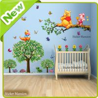 Winnie The Pooh Wall Stickers Animal Butterfly Tree Baby