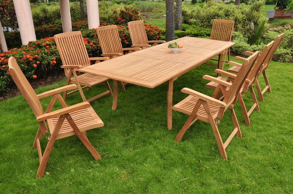 "9-Piece Outdoor Teak Dining Set: 117"" Rectangle Table, 8"