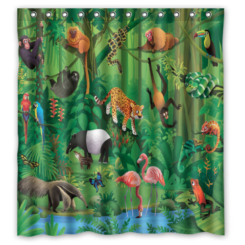 Tropical Jungle Theme Polyester Waterproof Bathroom Shower Curtain 66x 72 EBay