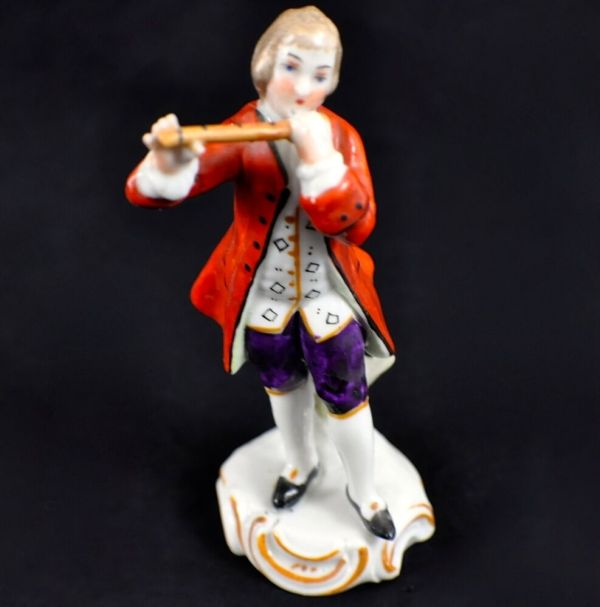 Vintage Sitzendorf Porcelain Figurine - Man Playing