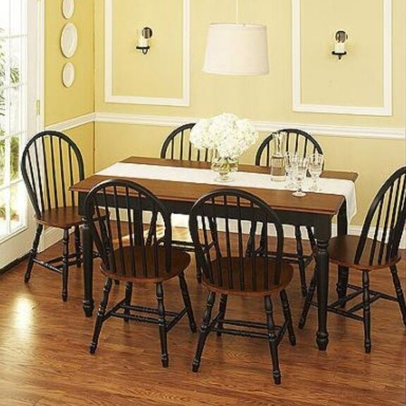 parson dining room chair sets unfinished kitchen chairs 7 pc set dinette 6 table furniture black | ebay