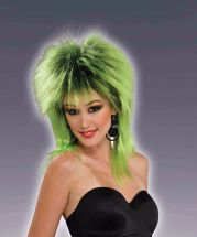 womens green & black punk wig 80s