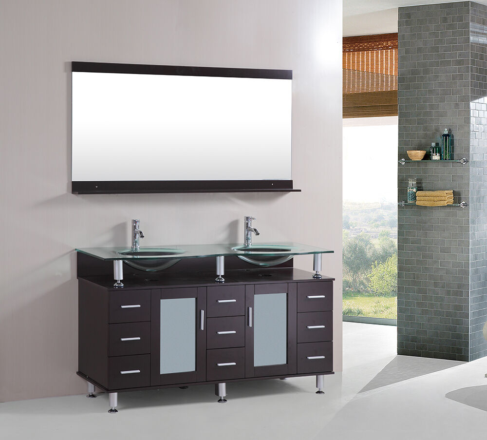 60 inch Double tempered glass Sink Bathroom Vanity cabinet