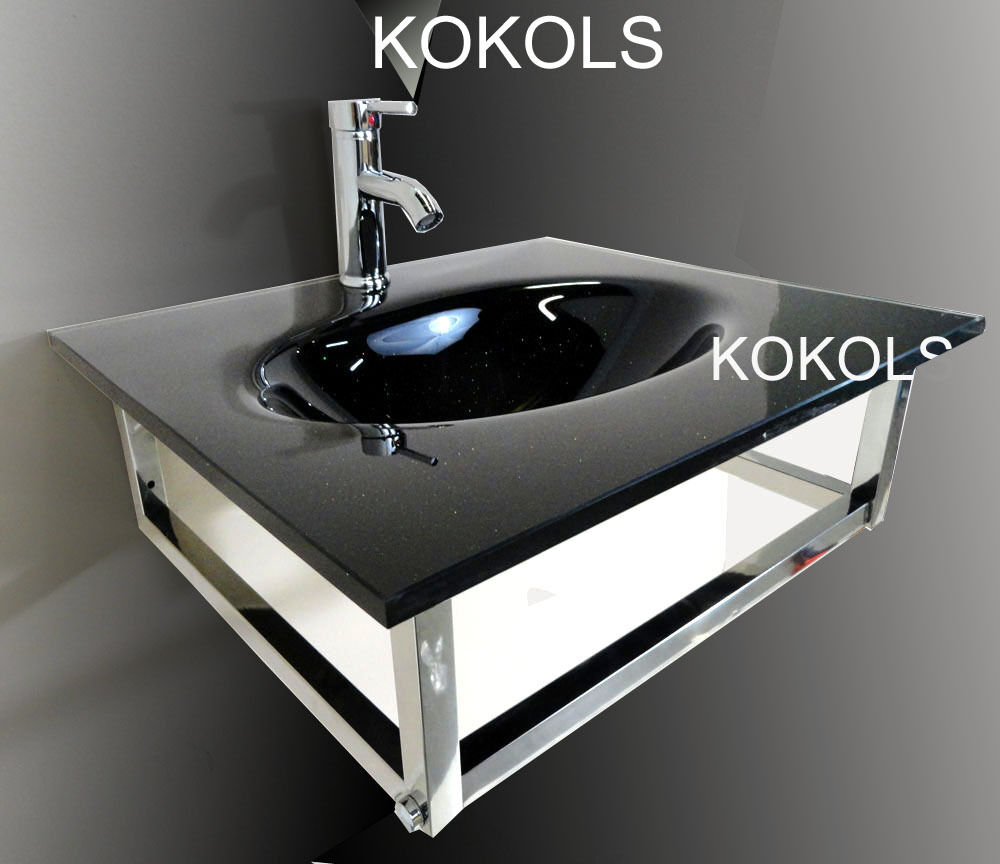 Bathroom Vanity Furniture Black Tempered Glass Bowl Vessel
