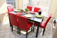 7pc Espresso Dining Room Kitchen Set Table & 6 Red Parson ...