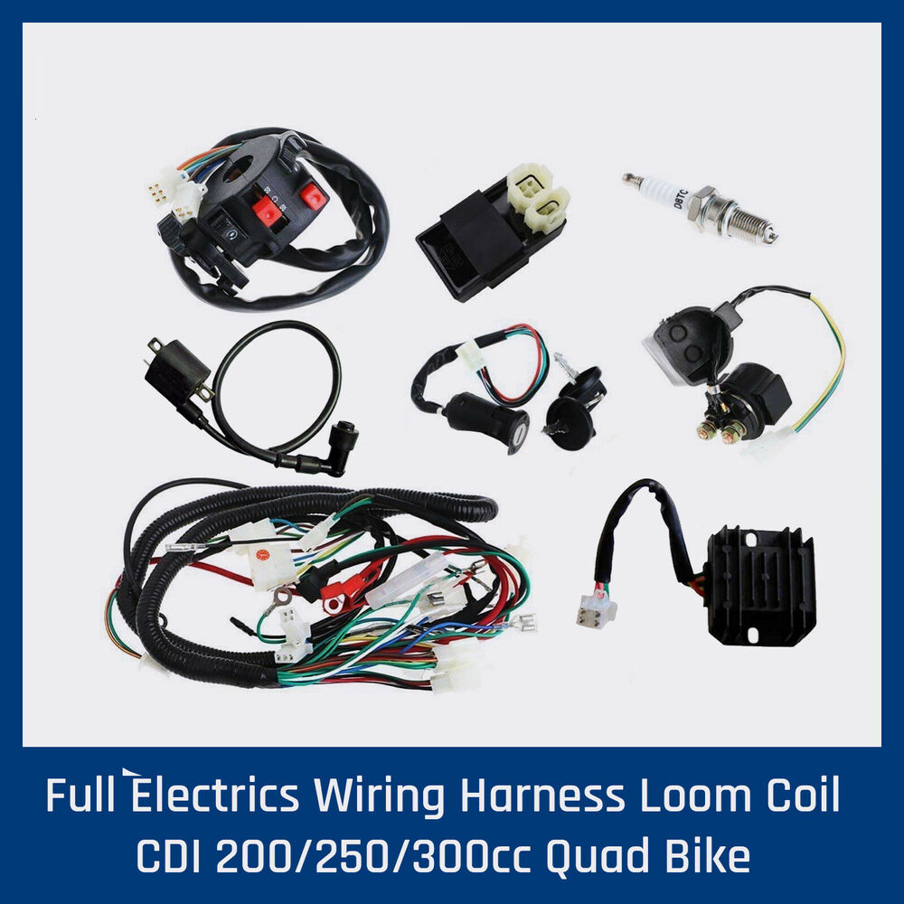 hight resolution of details about full wiring harness loom 150 200 250 300cc atv quad buggy electric start engines
