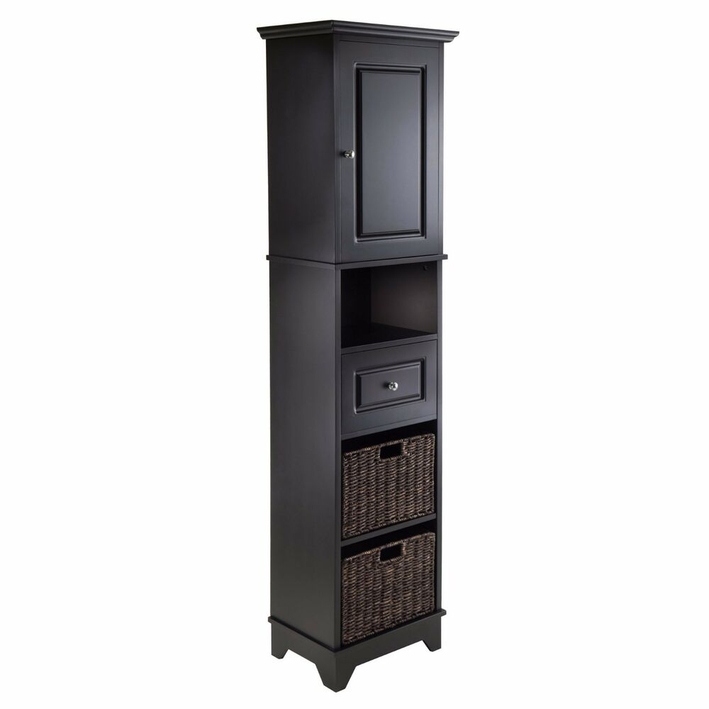 Black Linen Tower Tall Bathroom Cabinet Storage Furniture