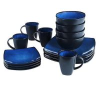 Blue Square Dinnerware Set Dining Plates Dishes Bowls 32 ...