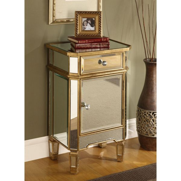 Mirrored Glass End Table Nightstand Chest Gold Finish