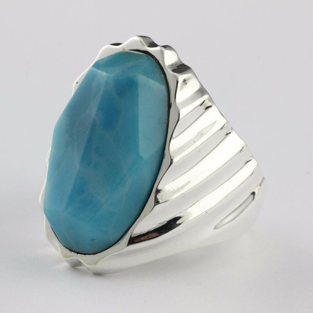 Mens 925 Sterling Silver Natural Laminar BLue Turqiouse