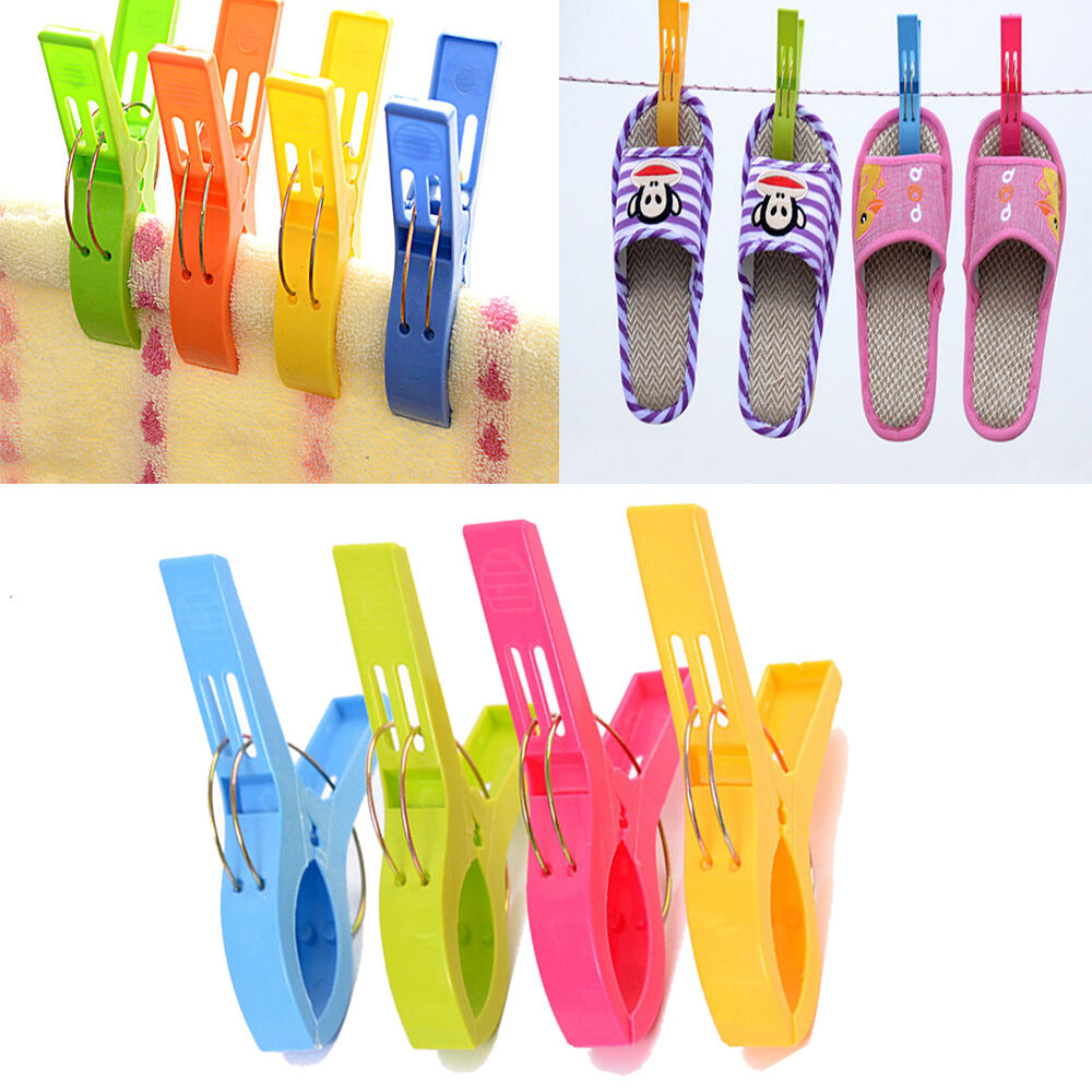 Set of 4 Beach Towel Clips in Fun Bright Colors  Prevents