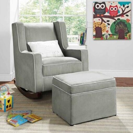 rocking chair and ottoman set cowhide dining room chairs gray nursery furniture baby kids relax rocker &/or | ebay