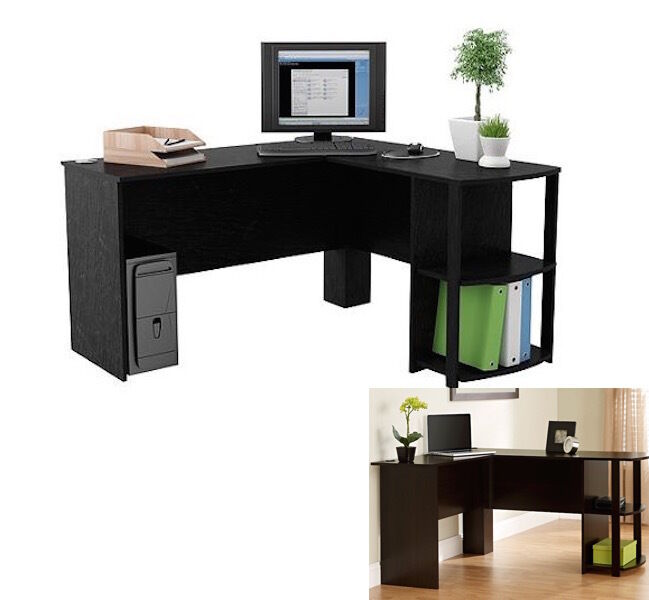 Black L Shaped Wood Desk Computer Table Home Furniture