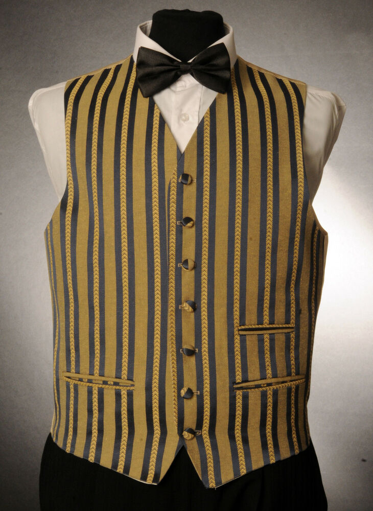 W 1037MENSBOYS ROYAL BLUE Amp GOLD STRIPED WAISTCOAT