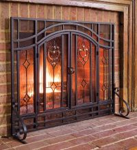 Fireplace Screen Fire Place Beveled Glass Double Doors ...