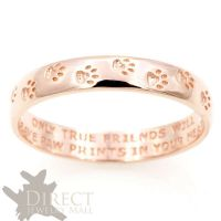 3mm 10K REAL Rose GOLD Dog Paw Print Engraved Flat Court