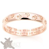 3mm 10K REAL Rose GOLD Dog Paw Print Engraved Flat Court ...