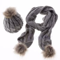 Women Winter Knit knitted Scarf and Hat Set Cap Beanie