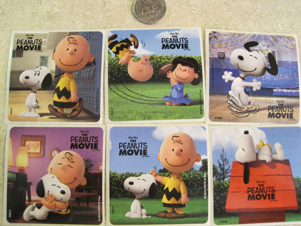 6 LARGE SNOOPY STICKERS THE PEANUTS MOVIE CHARLE