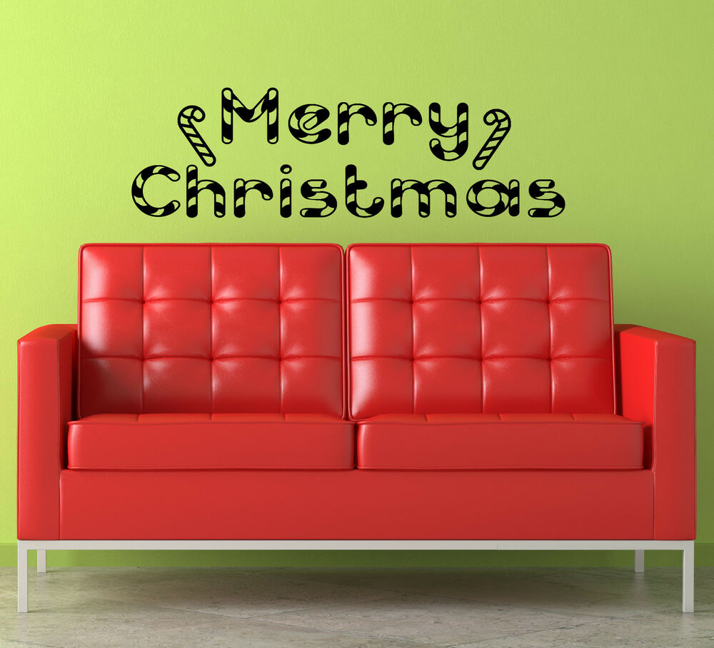 Merry Christmas Holiday Candy Cane Vinyl Wall Decal