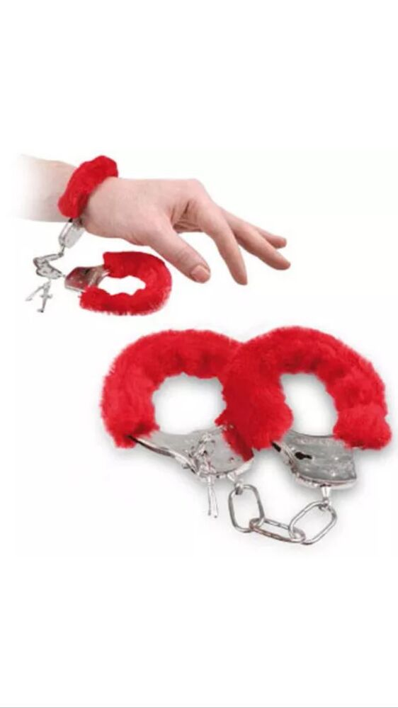 1 RED Furry Cuffs Sexy Love Hand Adult Party Handcuffs