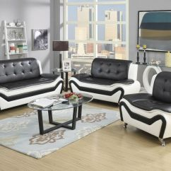 Brown Leather Sofa Recliner Corner Bed Ikea Wanda White/black Bonded Set-3pc, 2pc, ...