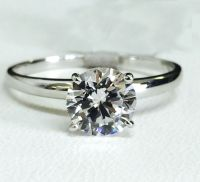 Solid 14K White Gold Cubic Zirconia Solitaire Engagement ...